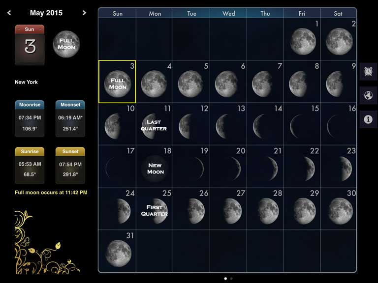 Moon phase calendar based on your location in a beautiful interface.